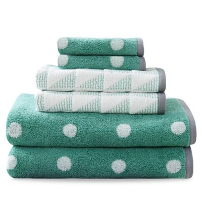 HipStyle Lilu 6-Piece Cotton Jacquard Towel Set in Aqua