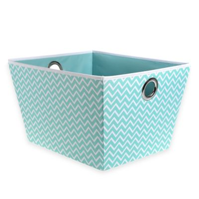 Studio 3B™ Heavyweight Large Grommet Tote in Aqua Chevron