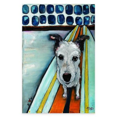 Marmont Hill Dog on Surfboard 40-Inch x 60-Inch Canvas Wall Art