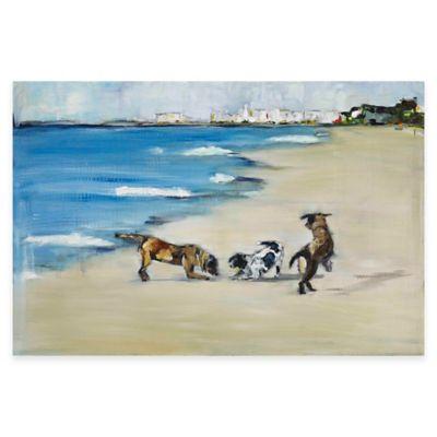 Parvez Taj Dogs Play 36-Inch x 24-Inch Canvas Wall Art