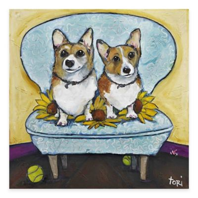 Parvez Taj Corgis In Chai 18-Inch x 18-Inch Canvas Wall Art