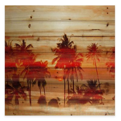 Parvez Taj Crimson Palms 40-Inch x 40-Inch Wood Wall Art