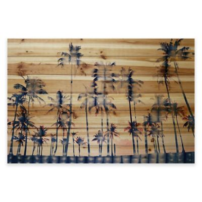 Parvez Taj Watercolor Palms 36-Inch x 24-Inch Pine Wood Wall Art