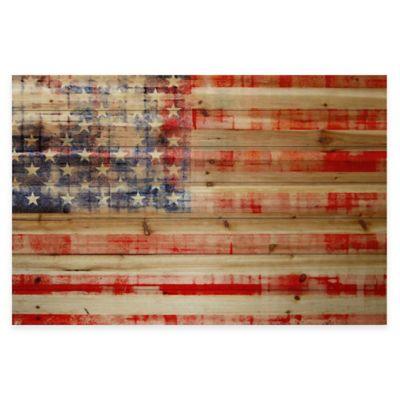 Parvez Taj American Flag 45-Inch x 30-Inch Pine Wood Wall Art