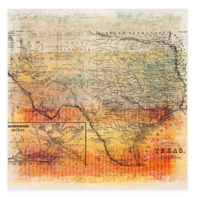 Marmont Hill Texas Map 18-Inch x 18-Inch Canvas Wall Art