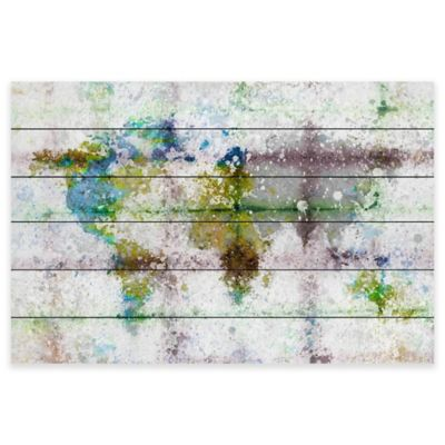 Marmont Hill Color Splash Map 45-Inch x 30-Inch White Wood Wall Art