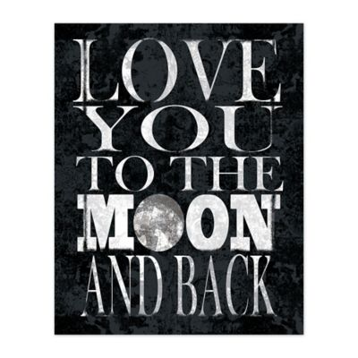 Love To The Moon 16-Inch x 20-Inch Canvas Wall Art