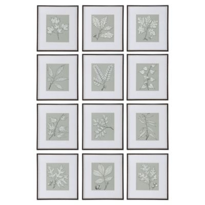 Uttermost Leaves On Taupe Wall Art (set of 12)