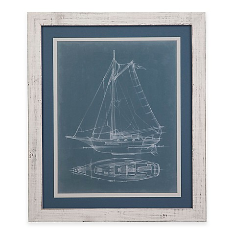 Buy bassett mirror company yacht sketches iv framed wall for Mirror yacht