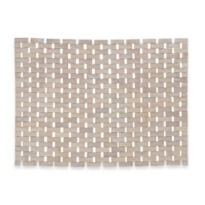 Woven Bamboo Bath Mat in Whitewash