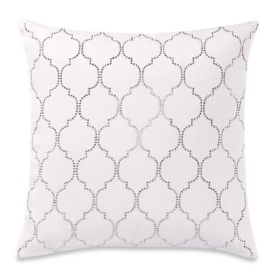 Make-Your-Own-Pillow Hot Fix Fretwork Throw Pillow Cover in Cream/Silver