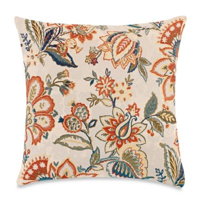 Make-Your-Own-Pillow Haiwa Throw Pillow Cover in Orange Floral/Cream