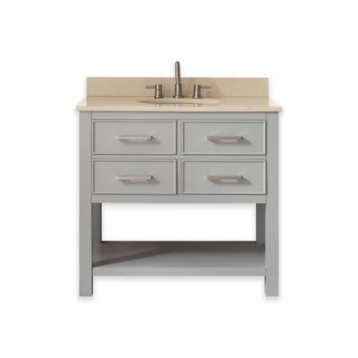 Avanity Brooks 37-Inch Single Vanity with Marble Top in Chilled Grey/Galala Beige
