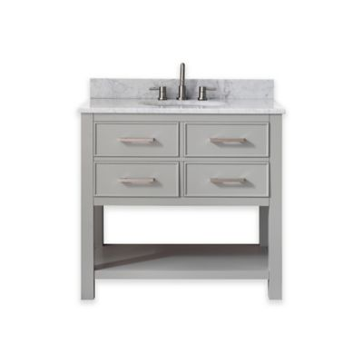 Avanity Brooks 37-Inch Single Vanity with Carrera Marble Top in Chilled Grey/White