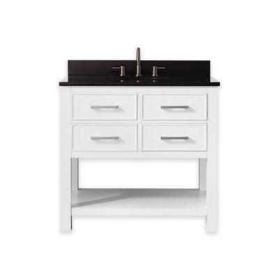 Avanity Brooks 37-Inch Single Vanity with Granite Top in White/Black