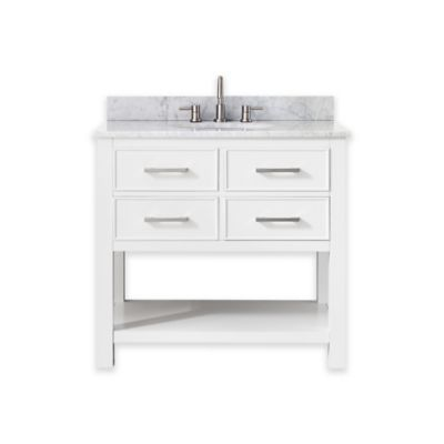 Avanity Brooks 37-Inch Single Vanity with Carrera Marble Top in White
