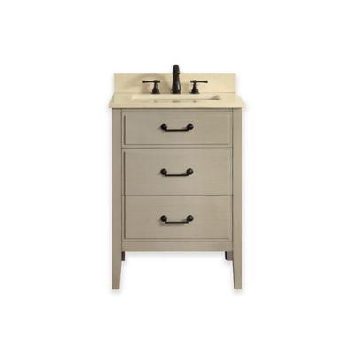 Avanity Delano 25-Inch Single Vanity with Marble Top in Taupe Glaze/Galala Beige