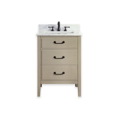 Avanity Delano 25-Inch Single Vanity with Carrera Marble Top in Taupe Glaze/White