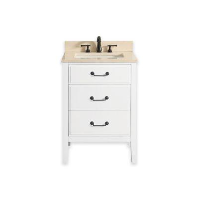 Avanity Delano 25-Inch Single Vanity with Marble Top in White/Galala Beige