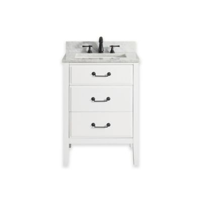 Avanity Delano 25-Inch Single Vanity with Carrera Marble Top in White
