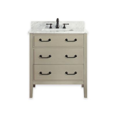 Avanity Delano 25-Inch Single Vanity with Carrera Marble Top in Taupe/White