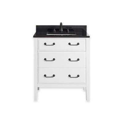 Avanity Delano 31-Inch Single Vanity with Granite Top in White/Black