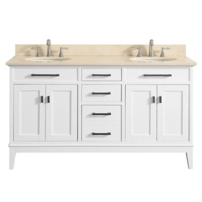 Avanity Madison 61-Inch Dual Vanity with Marble Top in White/Galala Beige