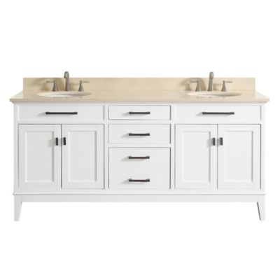 Avanity Madison 73-Inch Dual Vanity with Marble Top in White/Galala Beige