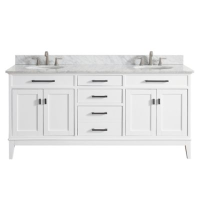 Avanity Madison 73-Inch Dual Vanity with Carrera Marble Top in White