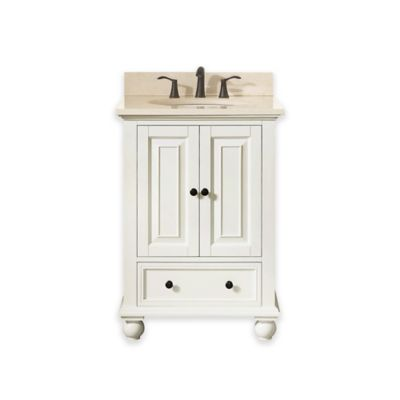 Avanity Thompson 25-Inch Single Vanity with Marble Top in French White/Galala Beige