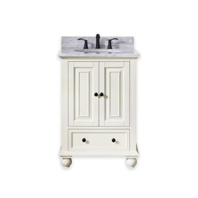 Avanity Thompson 25-Inch Single Vanity with Carrera Marble Top in French White