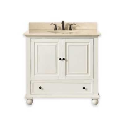 Avanity Thompson 37-Inch Single Vanity with Marble Top in French White/Galala Beige