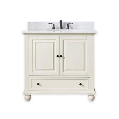 Avanity Thompson 37-Inch Single Vanity with Carrera Marble Top in White
