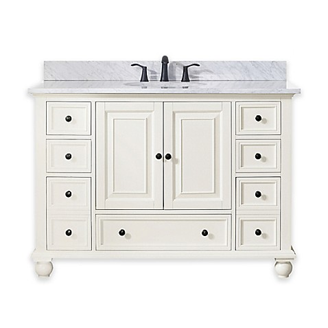 buy avanity thompson 49 inch single vanity with carrera marble top in white from bed bath beyond. Black Bedroom Furniture Sets. Home Design Ideas