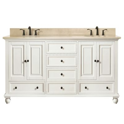 Avanity Thompson 60-Inch Double Vanity with Marble Top in French White/Galala Beige