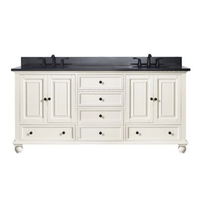 Avanity Thompson 73-Inch Dual Vanity with Granite Top in French White/Black