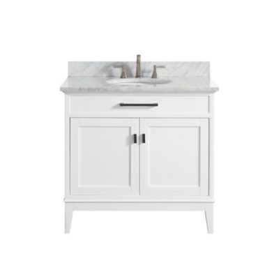 Avanity Madison 37-Inch Single Vanity with Carrera Marble Top in White