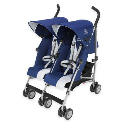 Maclaren® Twin Triumph Double Stroller in Blue/Silver