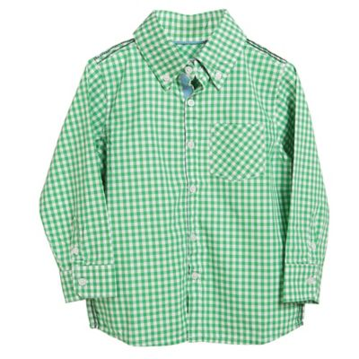 Rockin' Baby Size 2T-3T Long Sleeve Checkered Button Shirt in Green