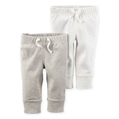 carter's® Newborn 2-Pack Babysoft Ribbed Cotton Cuffed Faux-Drawstring Pant in Ivory/Heather
