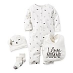 carter's® Size 3M 4-Piece Babysoft  I Love Mommy  Lamb Take Me Home Set