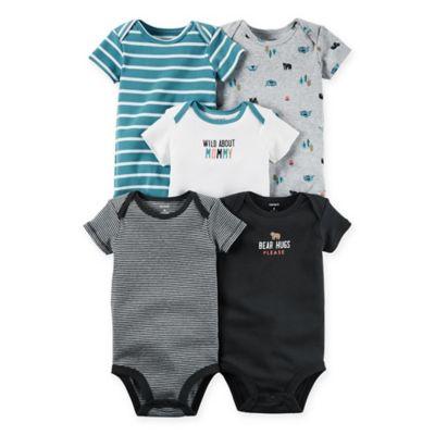 "carter's® Size 18M 5-Pack ""Wild"" Babysoft Cotton Short Sleeve Bodysuits in Multicolor"