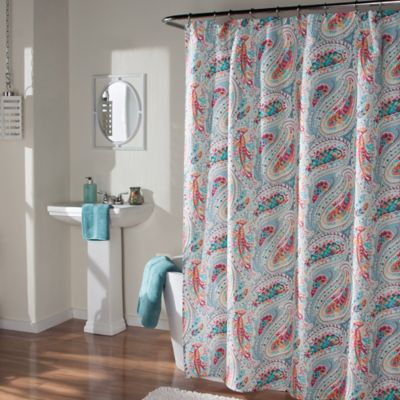 m.style Perfect Paisley Shower Curtain in Aqua