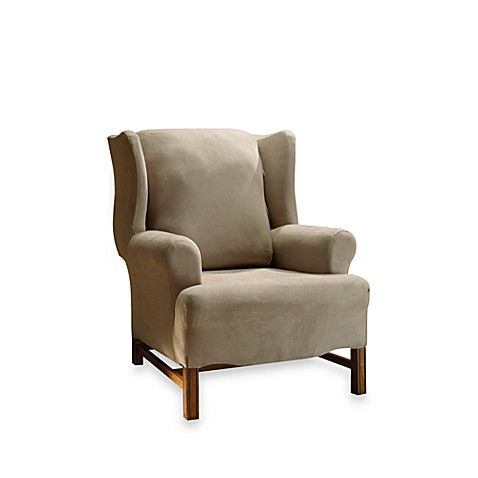 Stretch Suede Taupe Wing Chair Cover by Sure Fit®
