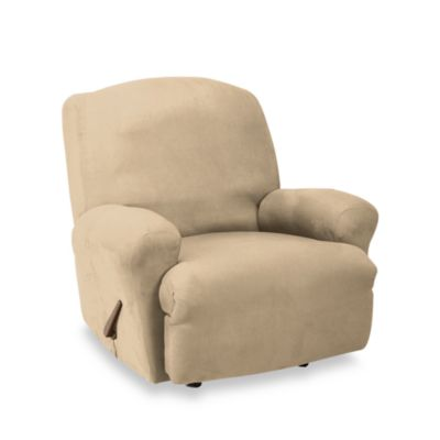 Stretch Suede Taupe Straight Arm Recliner Cover by Sure Fit