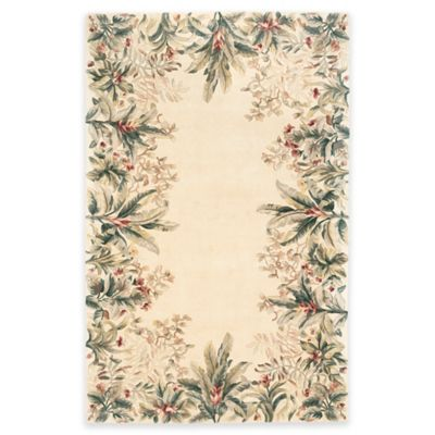 KAS Emerald Tropical Border 5-Foot 3-Inch x 8-Foot 3-Inch Area Rug in Ivory