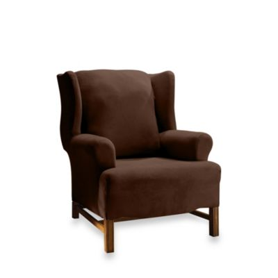 Stretch Suede Chocolate Wing Chair Cover by Sure Fit®
