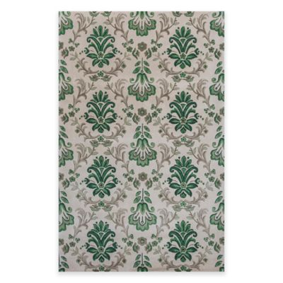 KAS Emerald Damask 3-Foot 6-Inch x 5-Foot 6-Inch Area Rug in Ivory/Green