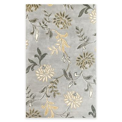 KAS Florence Floral 3-Foot 6-Inch x 5-Foot 6-Inch Accent Rug in Silver