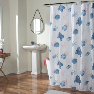 m.style Seaside Script Shower Curtain in Coral